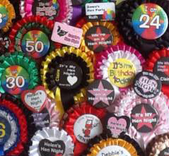 personalised badges for hen nights and birthdays