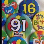 birthday badges and rosettes